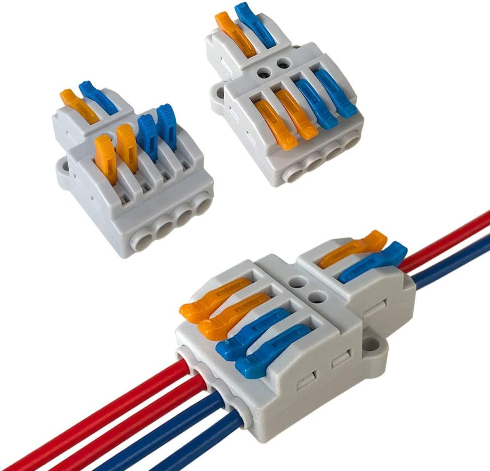 2 in 4 out Conector Conductor Compacto Bilateral R/ápido Resorte Conector Bloque Terminal Aiqeer 15 Piezas KV424 Palanca Tuerca Cable Conectores Set