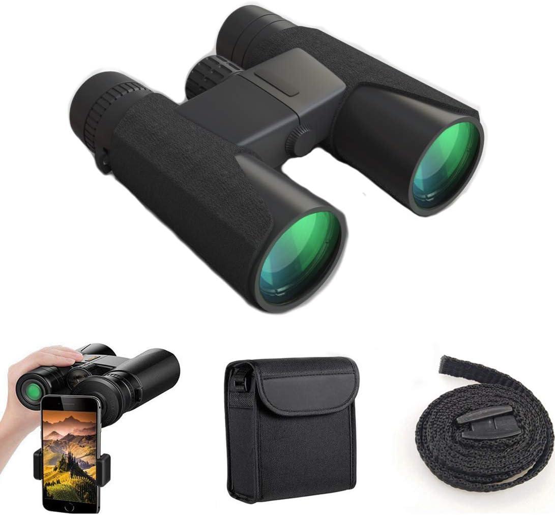 10×42 Binoculars for Adults, Compact HD Professional Binoculars Bird Watching Travel Stargazing Hiking Hunting Concerts Sports-BAK4 Prism FMC Lens with Smartphone Adapter Black