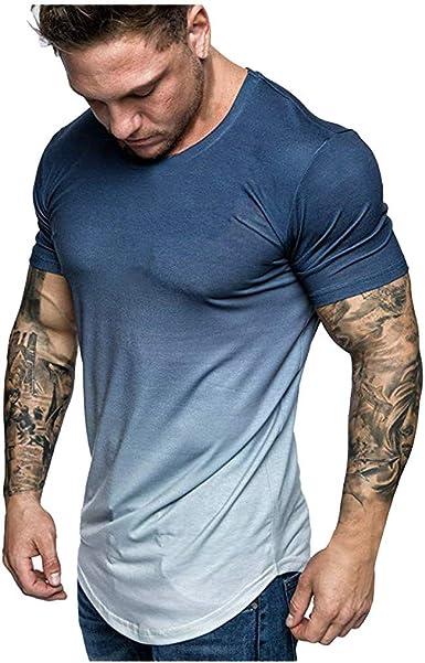 Sylar Camisetas Deporte Hombre Camisetas Hombre Manga Corta Camisetas Hombre Originales Gradiente Camiseta Slim Fit Hombre Running: Amazon.es: Ropa y accesorios