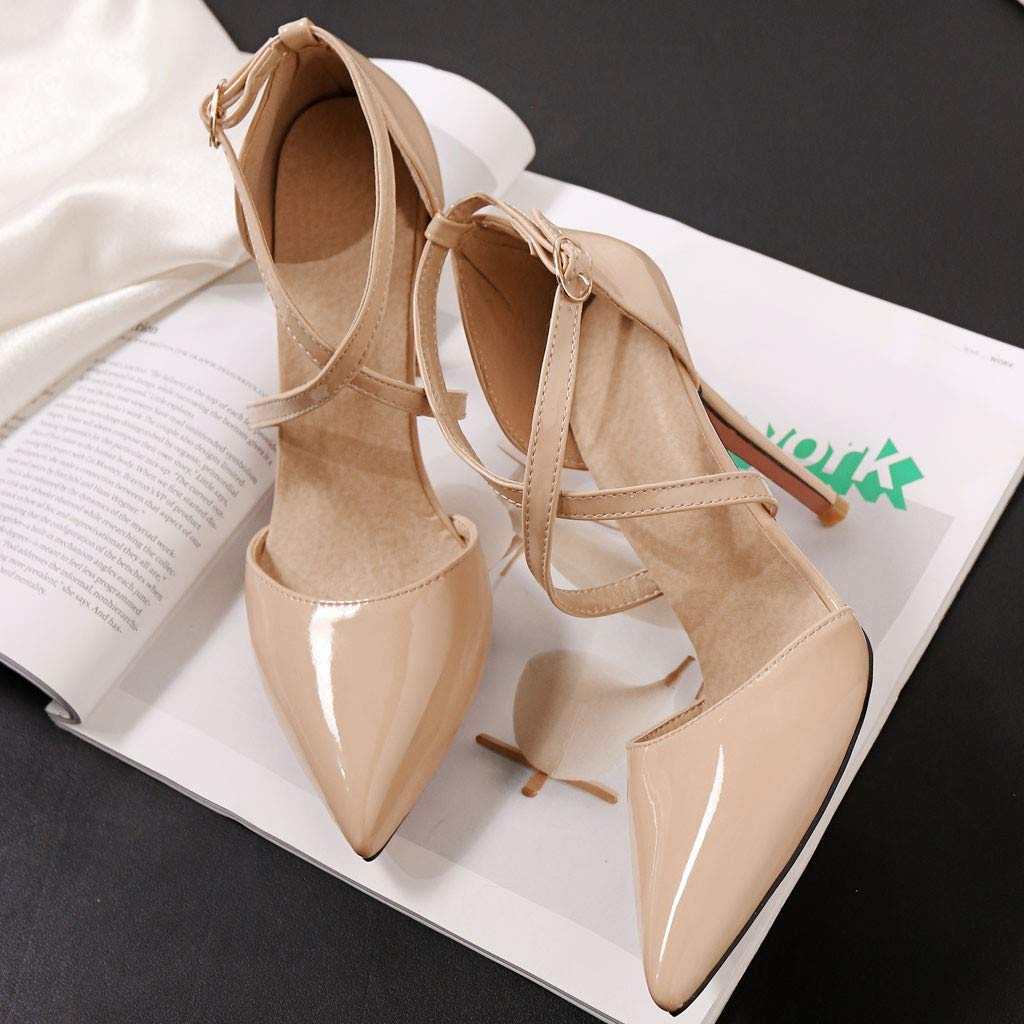 Heeled Sandals for Women Ankle Strap,FAPIZI Lady Round Toe Shoes Cross Bandage High Heel Non-Slip Sandals Beige by FAPIZI Women Shoes (Image #4)
