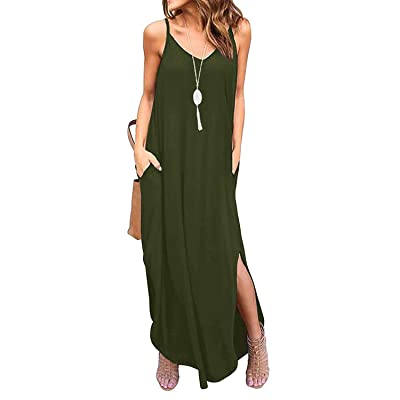 AFKOXKi Women Spaghetti Strap Cami Maxi Dress Casual Beach Coverups Long Dress T Shirt Maternity Dress with Pockets at Amazon Women's Clothing store