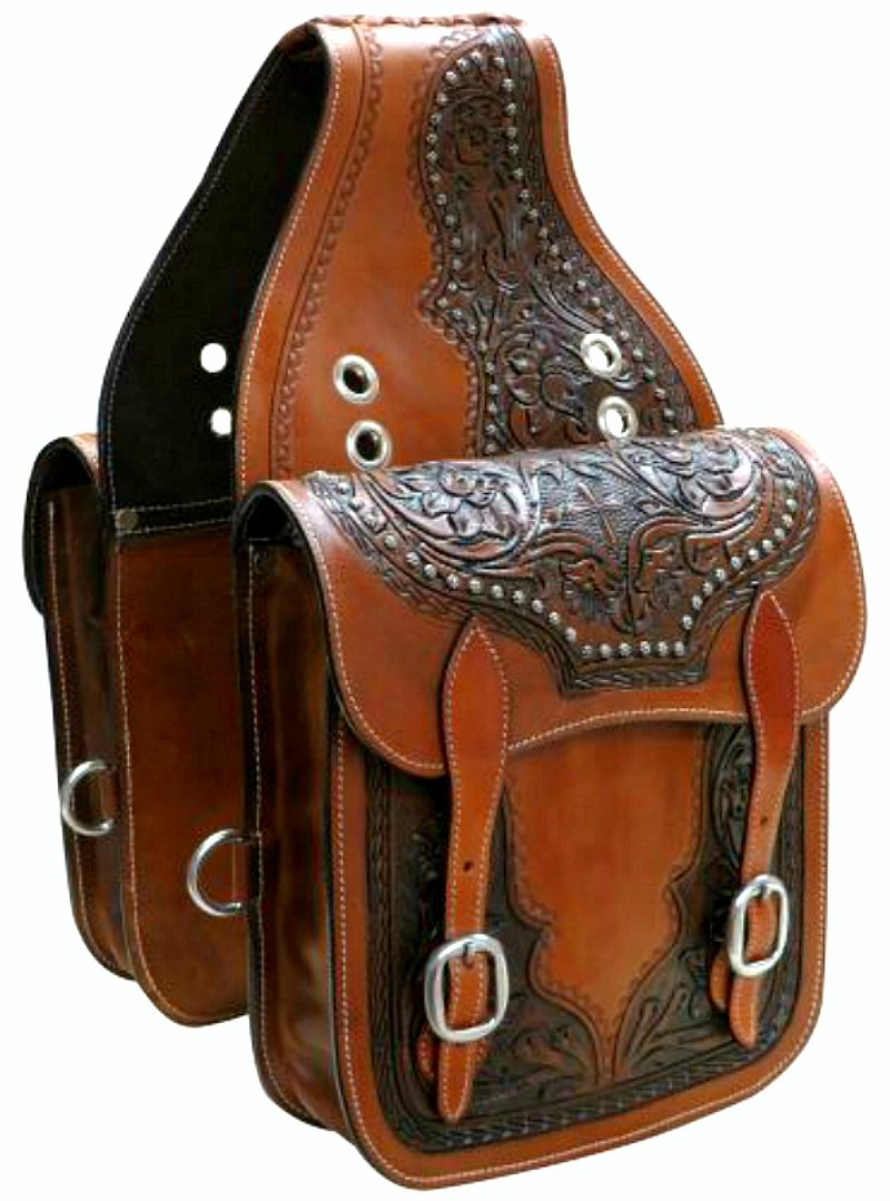 Showman Western Tooled Leather Saddle Bags Trail Medium Oil