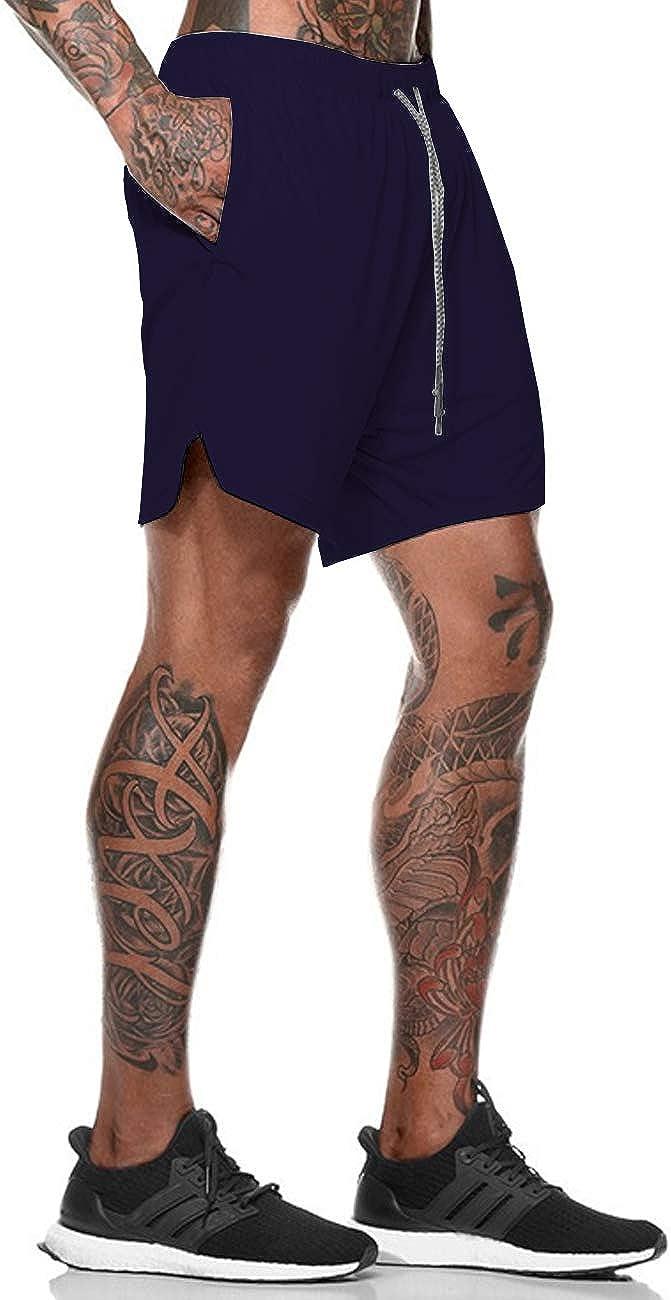 Bibowa Mens 2 in 1 Running Shorts with Compression Liner,Towel Loop,Phone Pocket,Back Zipper Pocket