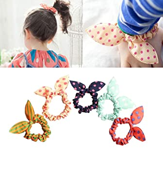 10PCS 2.3   Diameter Bunny Ears Rubber Hair Bands-Ponytail Holder Elastic  Cotton Stretch 5740a735e41