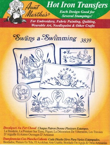 Swans a-Swimming Aunt Martha's Hot Iron Embroidery (Blackwork Shirt)