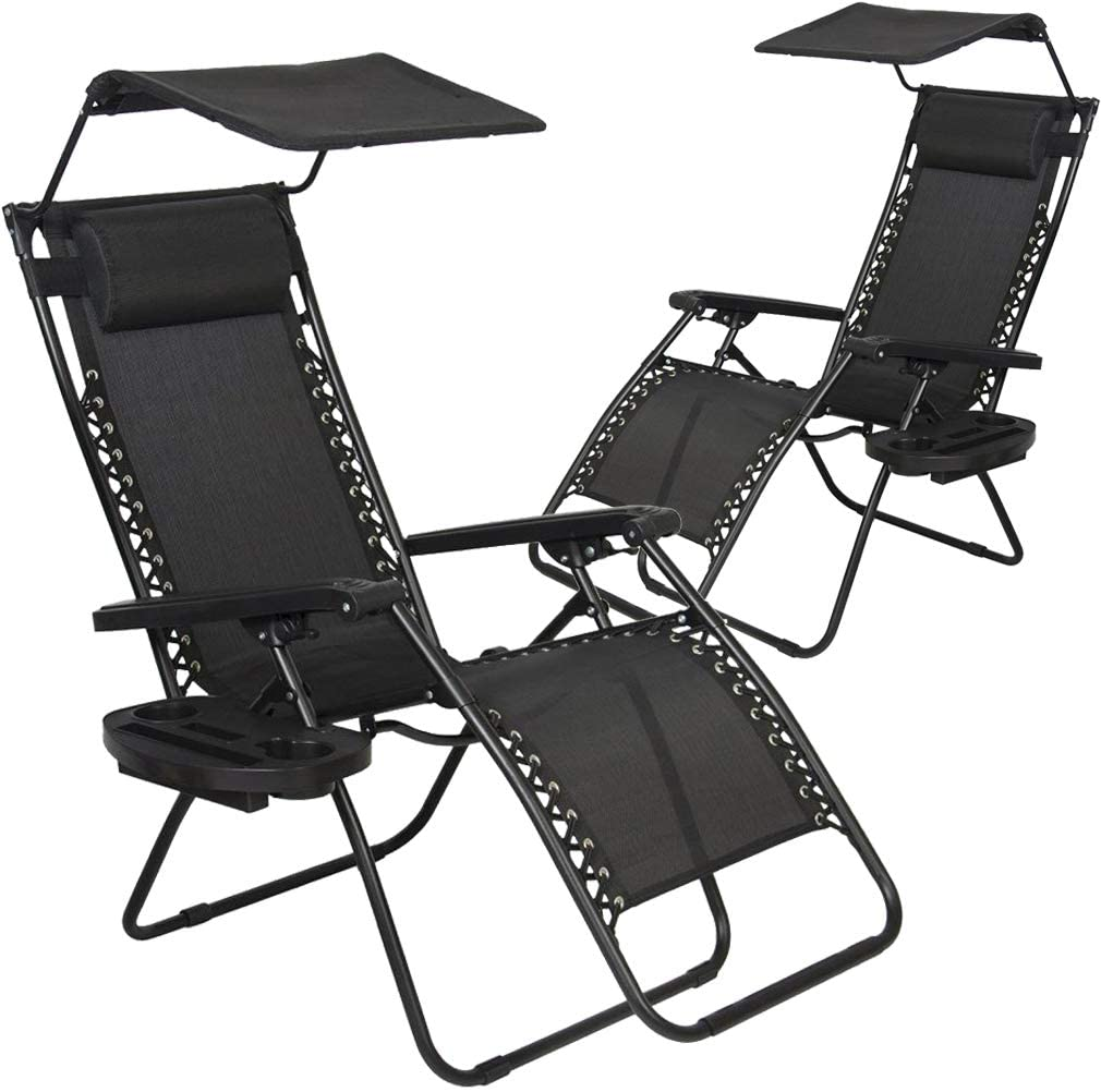 Zero Gravity Chair Patio Chairs Lounge Chair 2 Pack Recliner W Folding Canopy Shade and Cup Holder for Outdoor Funiture