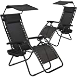 Patio Chairs Lounge Chair Zero Gravity Chair 2 Pack Recliner W/Folding Canopy Shade and Cup Holder for Outdoor Funiture (Blac