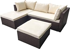 AmazonBasics Outdoor Patio Garden 3-pc Wicker Rattan Sectional Sofa Lounge Set with Cushions and Ottoman (Brown)