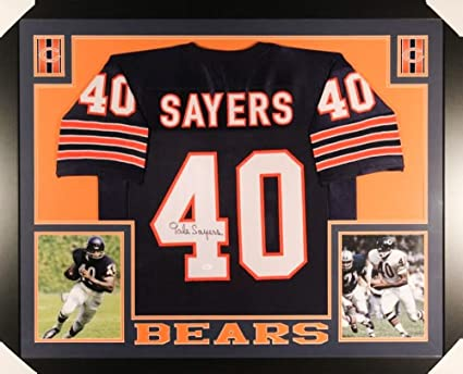 7b5a0002a Image Unavailable. Image not available for. Color: Gale Sayers Signed Bears  35x43 Custom Framed Jersey ...