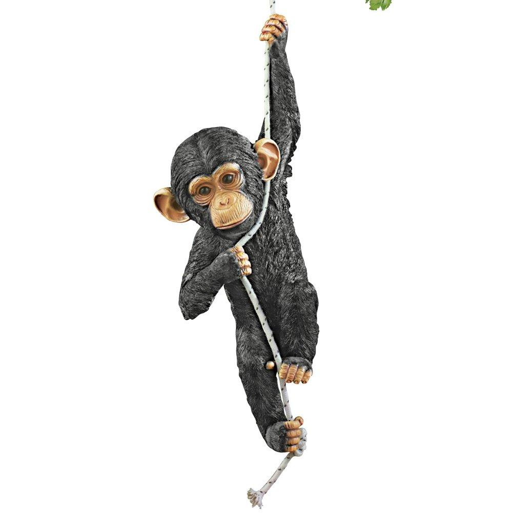 Collections Etc Swinging Monkey Hanging Yard Decoration, Black