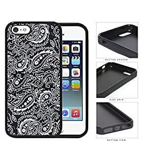 Black and White Bandana Paisley Design Pattern Hard Rubber TPU Phone Case Cover iPhone i5 5s