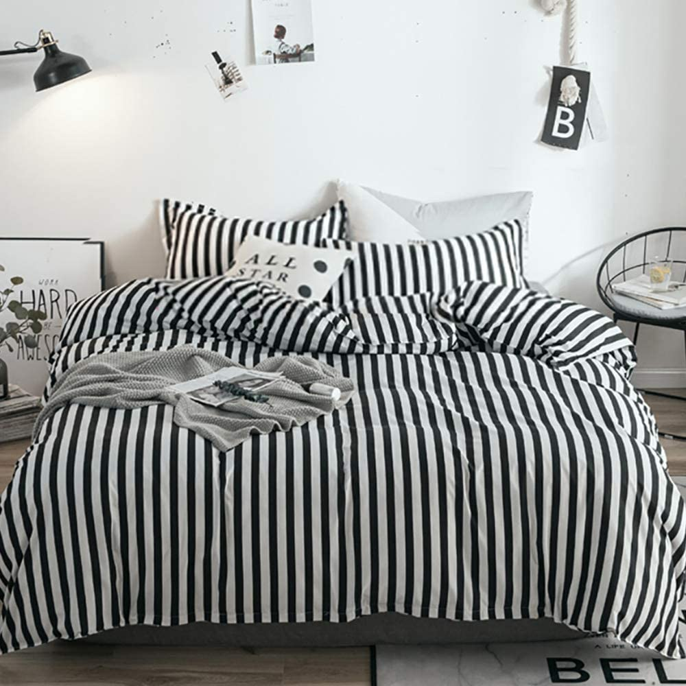 Amazon.com: karever Black White Striped Duvet Cover Set Queen Cotton  Bedding Vertical Ticking Stripes Pattern Printed 3 Pieces Comforter Cover  Set: Home & Kitchen