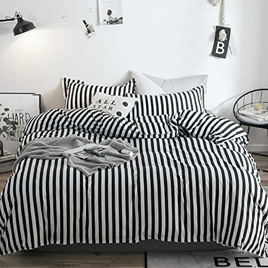 Amazon.com: karever Black White Striped Duvet Cover Set Queen