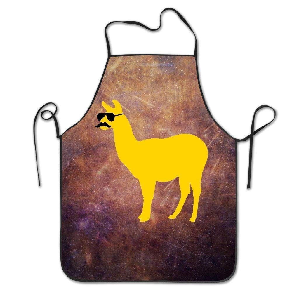 Adjustable Bib Aprons Funny Llama with Sunglasses and Mustache Funny Restaurant Chef Bib Apron Adjustable Strap Professional for BBQ, Baking, Cooking HATS NEW