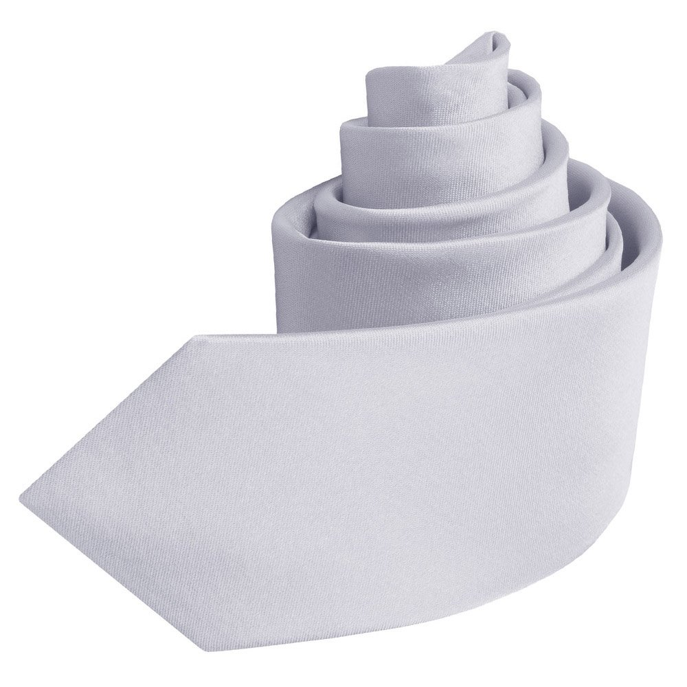 DQT Boys Plain Satin Silver Neck Tie