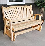 CEDAR PORCH GLIDER BENCH Outdoor Patio Gliding Bench, 2 Person Wooden Loveseat Benches, Amish Made Furniture Weather Resistant Western Red Cedar Wood, 5 Styles (5ft, Fanback Unfinished Natural)