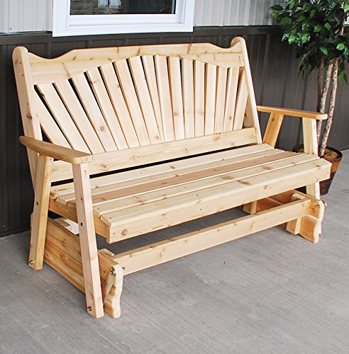 CEDAR PORCH GLIDER BENCH Outdoor Patio Gliding Bench, 2 Person Wooden Loveseat Benches, Amish Made Furniture Weather Resistant Western Red Cedar Wood, 5 Styles (5ft, Fanback Unfinished Natural) ()