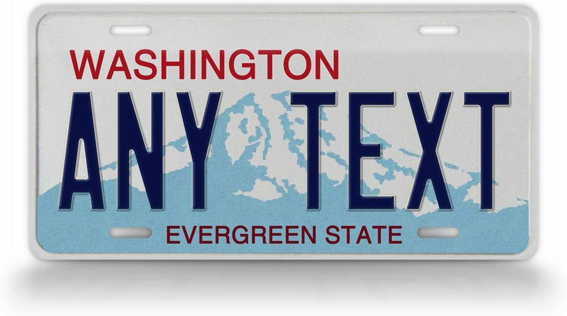 SignsAndTagsOnline Custom Washington License Plate Any Text Personalized Evergreen State WA Metal Auto Tag