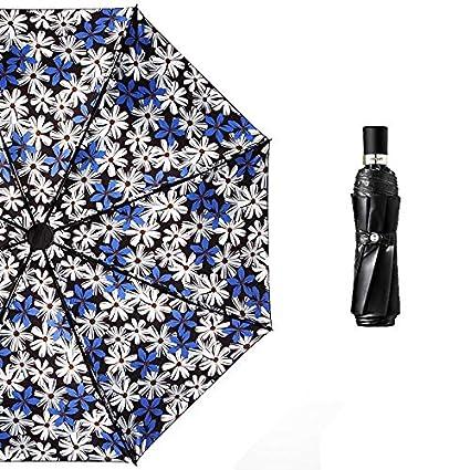 Paraguas plegable automatico Mujer niño Hombre an- Sombrilla Retro de Tres Pliegues: Vinilo pequeño