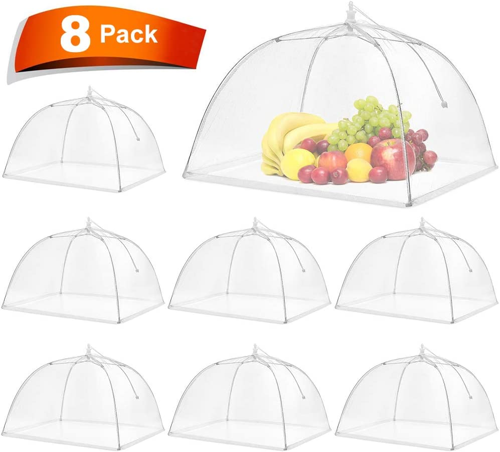 Pop-Up Mesh Screen Food Cover Tent Umbrella, SPANLA 8 Pack Food Cover Net for Outdoors, Screen Tents, Parties Picnics, BBQs, Reusable and Collapsible Reusable and Collapsible,17 Inches
