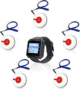 Retekess T128 Caregiver Pager Help System Personal Help Nurse Alert Pager 1 PC Watch Pager 5 PCS TD009 Waterproof Buttons for Elderly Patient Disable