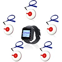 Retekess T128 Caregiver Pager Call Button System Nurse Alert Pager Watch Pager (Black,1Pack) and TD009 Waterproof Call…