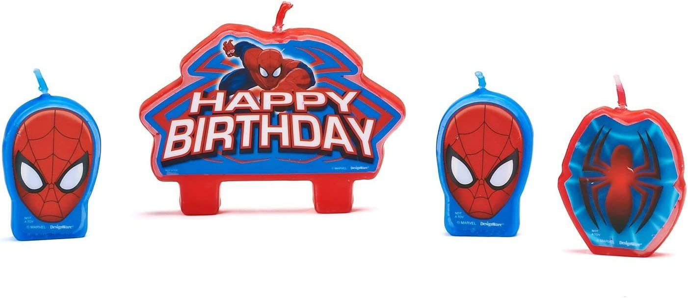 Amazon.com: Spider-Man velas de cumpleaños, 4 count ...