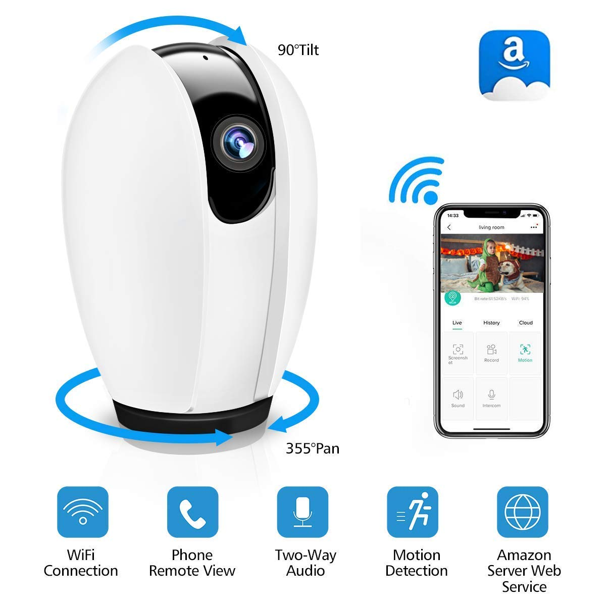 Caméra de Surveillance WiFi Intérieure,Camera IP sans Fil Bébé,HD 720P Caméra de Sécurité Interieure,Vision Nocturne,Alerte de Détection de Mouvemente,Surveillance en Temps Réel pour Android/iOS/PC