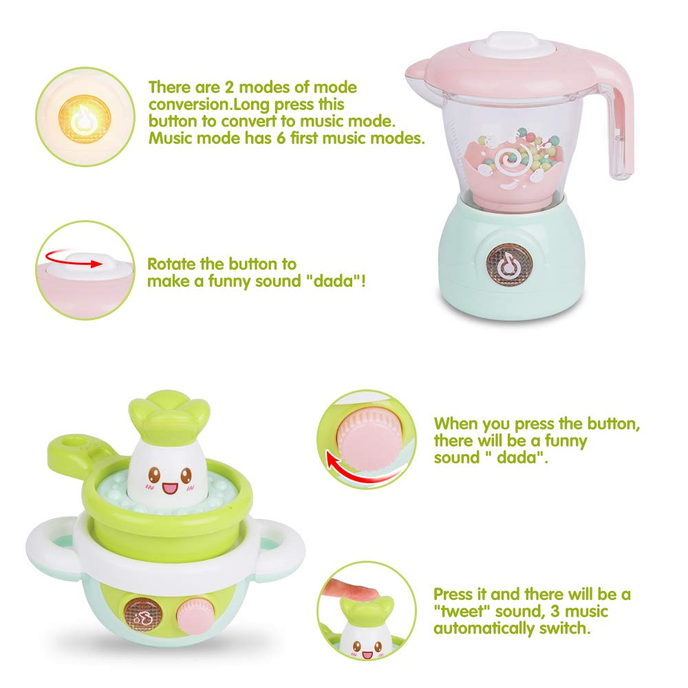 Gizmovine Play Kitchen Accessories, 4PCs Mini Simulation Musical Kitchen Toys for Kids Cooking Set Pretend Play Home Kitchen Appliances for Girls Kids Toddler by Gizmovine (Image #5)