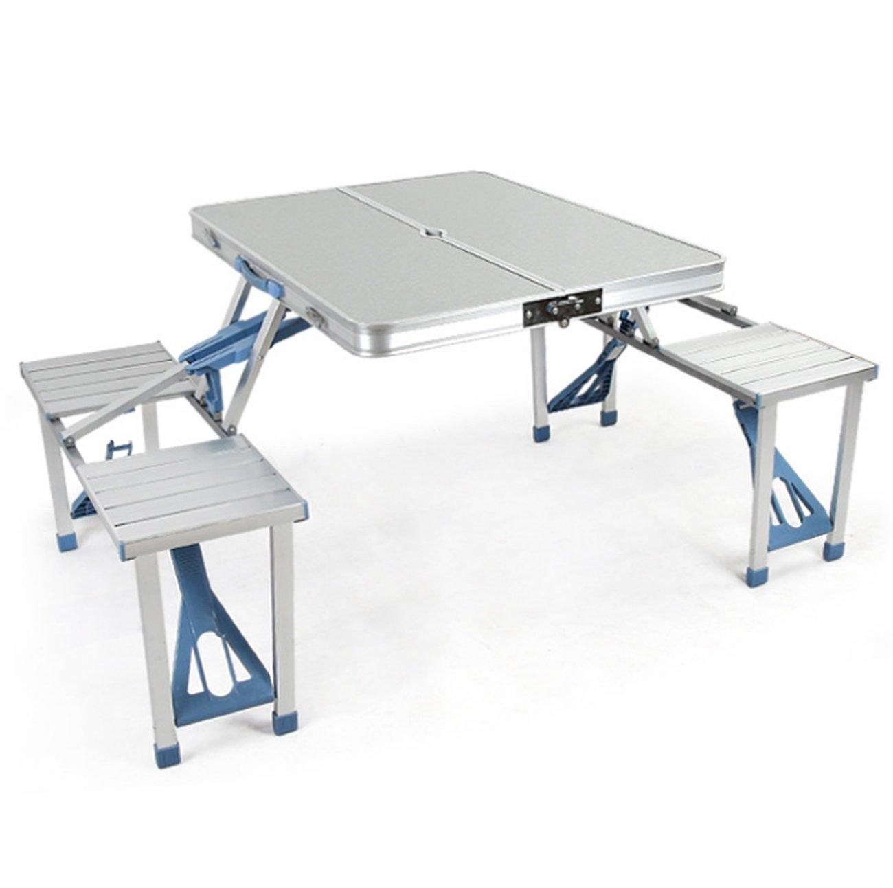 アウトドアキャンプ、ピクニック、バーベキューのための4椅子と統合されたアルミ合金の折り畳み式テーブル B07D5WHVF2