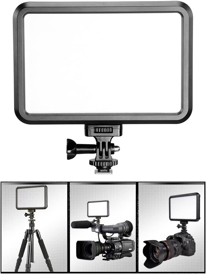 Andoer PT-12B Photography Camcorder Video LED Fill-in Light Panel 3200-5600K Adjustable Color Temperature Brightness with Hot Shoe Adapter for Canon Nikon Pentax Olympus Digital DSLR Cameras