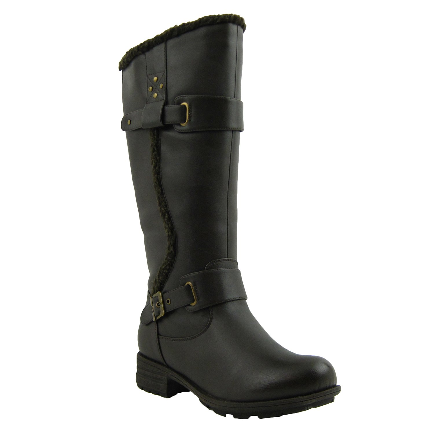 Comfy Moda Fashion Women's Winter Ice Snow Boots with Wide Calf Wide Toe Box Adjusted Calf Full Lined Water Resistant Cold Weather Boots Memory Foam Ally
