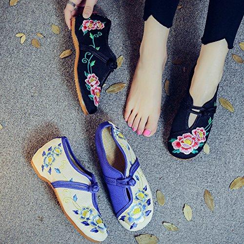 Bordado Peonía Zapatos Fanwer Suave Casual Negro Mujeres Gran de Mary La Suela Caminando Janes Pisos de Tamaño Hd7wwqUtx
