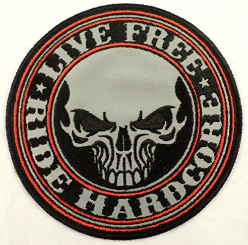 Live Free Ride Hardcore Skull Reflective Lg Biker Motorcycle Uniform Patch #Xl
