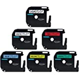 Anycolor 6 Pack 12mm M Tape Combo Set Compatible Brother P-touch Label Tape M131 M231 M431 M531 M631 M731 for Brother P Touch Label Maker PT-90 PT-70BM PT-70 PT-M95 PT-65 PT- 85