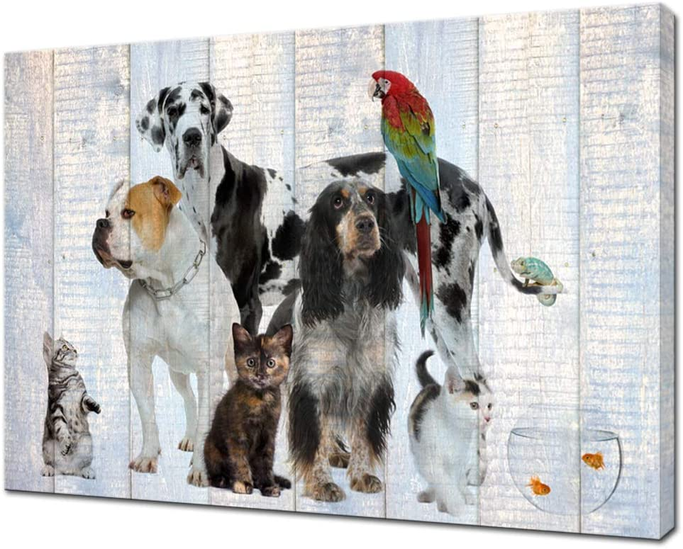 Artsbay Animal Canvas Wall Art Dog Cat Painting Pictures on Vintage Wood Texture for Kids Room Decor Puppy Artwork Giclee Print Modern Home Living Room Decoration Ready to Hang 24x36inch