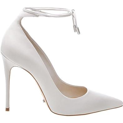 e9f1611e445 SCHUTZ Thamille Pearl White Lace Around Ankle Pointy Toe High Heel Stiletto  Pump (11)