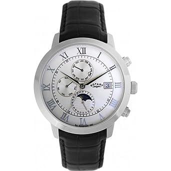 Rotary Timepieces - Reloj analógico de caballero automático con correa de piel negra: Amazon.es: Relojes