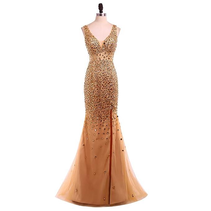 New Luxury Gold Beaded Mermaid Prom Evening Dresses Long Plus Size Slit Sleeveless V-Neck Party Gowns Robe de Soiree 2018 Gold-UK26: Amazon.co.uk: Clothing