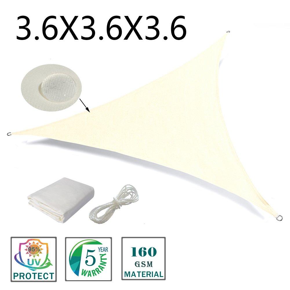 Love story Tenda d'ombra triangolare 3 x 3 x 3 m, tenda impermeabile indicata per esterni, cortili, giardini, Colore beige