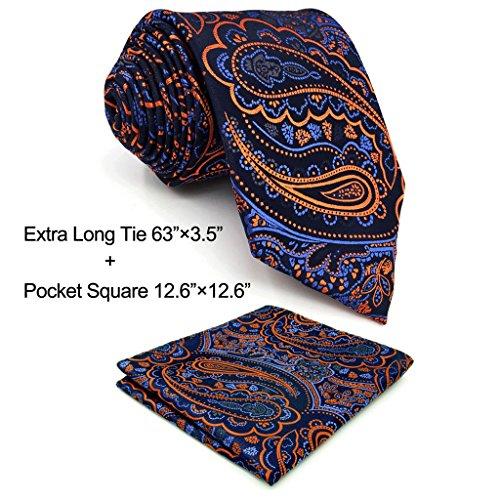 Shlax & Wing Extra Long Mens Necktie Paisley Navy Orange Silk Tie Classic For (Paisley Tie)