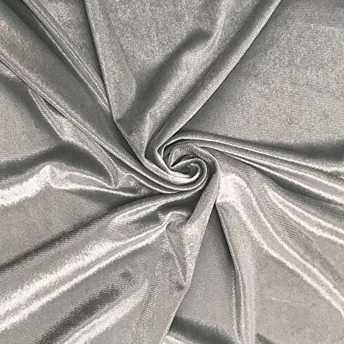 Stretch Velvet Fabric 60'' Wide by the Yard for Sewing Apparel Costumes Craft (1 YARD, Silver)