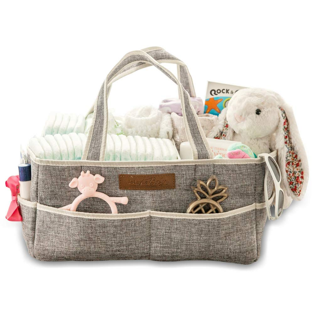 Diaper Caddy Organizer by JoLayLe Baby │Premium Quality Collapsible Storage Basket for Your Changing Table │The in-Home Diaper Bag│ Gender Neutral Gray Perfect for Any Nursery│Registry Gift Basket