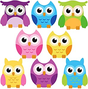 DEKOSH Owl Wall Decals for Baby Nursery Decor | Colorful Large Jungle Theme Animal Wall Stickers for Kids Playroom, Classroom
