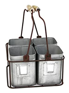 "Colonial Tin Works Metal Four Tin Organizer with Handles 9"" x 9"" x 5½"" Galvanized Gray Green Rust"