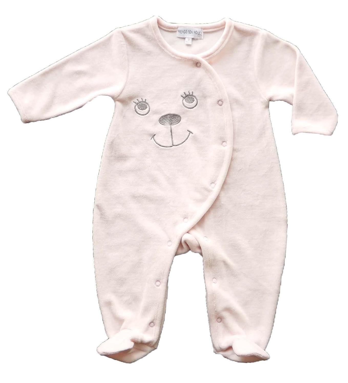Pigiama tutina bebe - velluto - rosa - de Prematuro 000M/42cm a 12 mesi