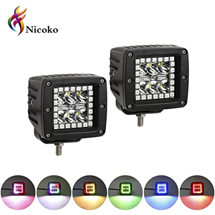 Surprising Amazon Com Nicoko 18W 3 Led Work Light With Chaser Rgb Halo 10 Wiring Cloud Tobiqorsaluggs Outletorg