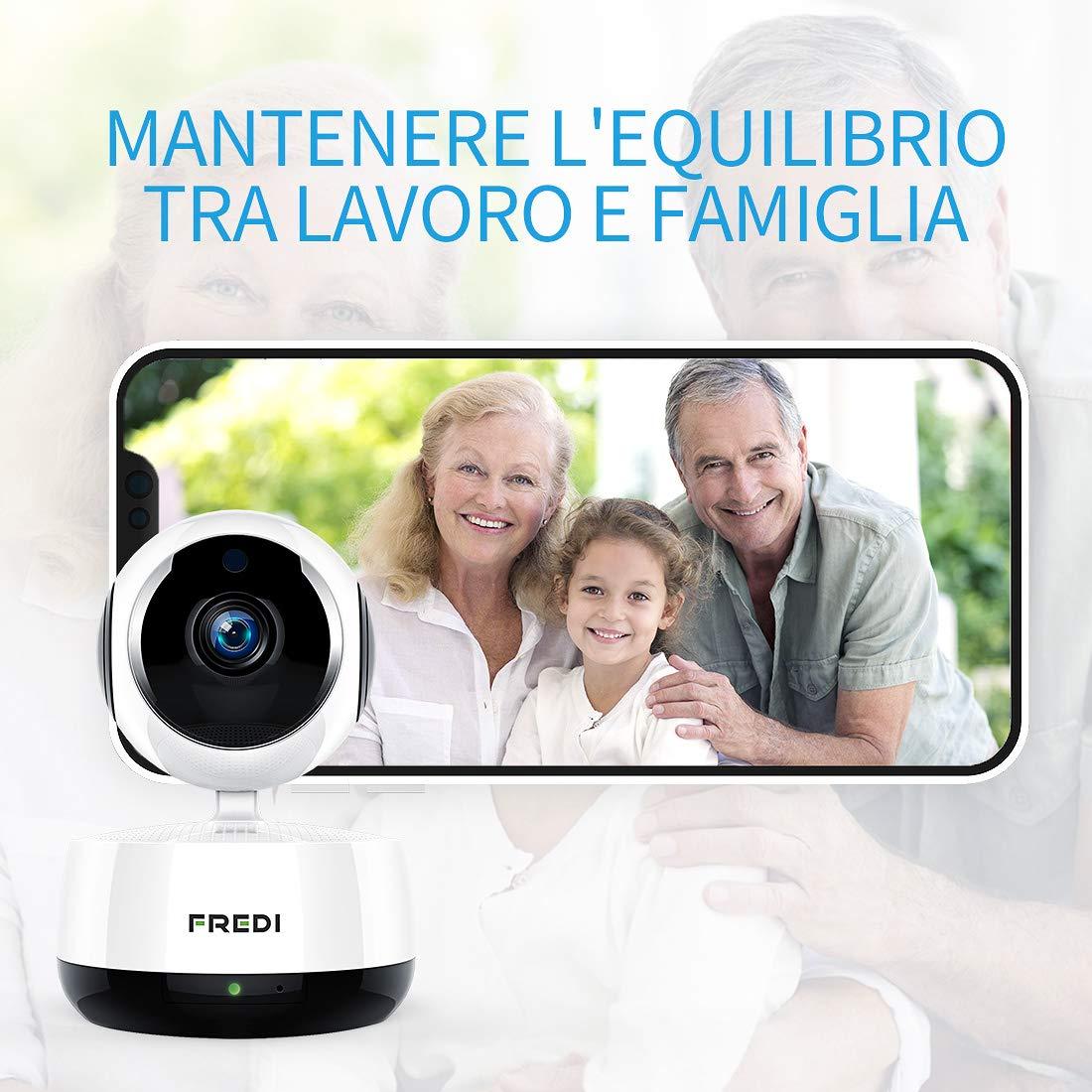 FREDI 1080P IP Telecamera di Sorveglianza Wifi Wireless Camera Interno Telecamera wi-fi senza fill con Controllo Remoto, Audio Bidirezionale, Modalità Notturna a Infrarossi Videocamera di sorveglianza Camera Compatibile con iOS Android PC (