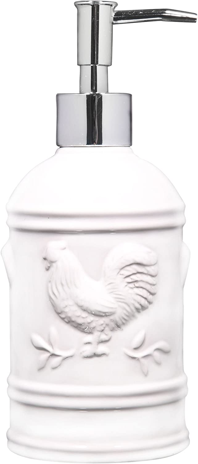 Home Essentials 8 Height Ceramic Rooster Soap Dispenser- Lotion Dispenser for Kitchen or Bathroom Countertops, 15 Ounce White