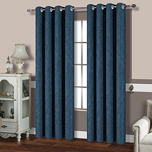 best dreamcity linen look calming blue shade thermal insulated solid grommet blackout curtains for living room pack of 2 52 x 84 navy blue - Blue Curtains For Living Room